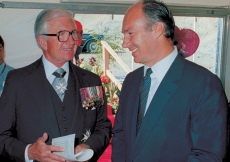 Mawlana Hazar Imam together with the Honourable Henry Bell-Irving, Lieutenant Governor of British Columbia, at the Foundation Ceremony of the Ismaili Centre, Burnaby.