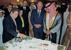 Architect Rami El Dahan shows Mawlana Hazar Imam and His Highness Sheikh Ahmed Bin Saeed Al Maktoum a model of the proposed Ismaili Centre, Dubai.