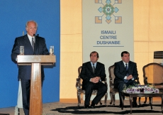 Mawlana Hazar Imam addresses the guests at the Foundation Ceremony of the new Ismaili Centre, Dushanbe.