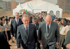 Mawlana Hazar Imam and President Jorge Sampaio proceed from the tent at the Foundation Ceremony of the Ismaili Centre, Lisbon.