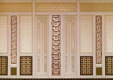 Panelling on the West window wall of the Prayer Hall, designed by Karl Schlamminger, incorporating marble, tile and plaster lattice panels with vertical teak panels in rectangular calligraphy. The names Allah, Muhammad and Ali (not shown) are to be read in the light space between the teak members.