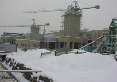 January 2008: A view of the Ismaili Centre construction site covered in snow.