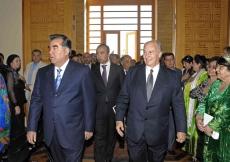 Mawlana Hazar Imam and President Emomali Rahmon arrive for the Opening Ceremony of the Ismaili Centre, Dushanbe.