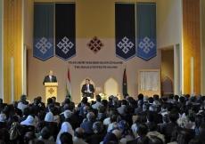 The Ismaili Centre Dushanbe was opened on 12 October 2009 by President Emomali Rahmon of Tajikistan, in the presence of Mawlana Hazar Imam.