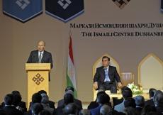 Mawlana Hazar Imam speaks during the Opening Ceremony of the Ismaili Centre, Dushanbe, as President Emomali Rahmon looks on.