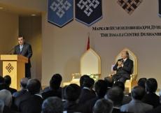 Tajikistan's President, Emomali Rahmon, addresses the gathering at the Opening Ceremony of the Ismaili Centre, Dushanbe.