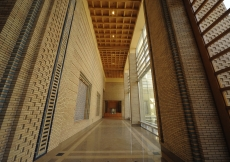 A view down the concourse between the Great Courtyard and the Prayer Hall space, looking towards the Literature Centre.