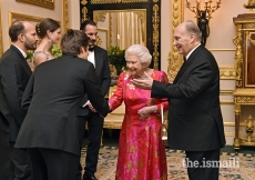 Mawlana Hazar Imam introduces Her Majesty the Queen to members of his family including Prince Rahim, Princess Salwa, Prince Hussain and Prince Aly Muhammad, London, 8 March 2018.