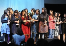 Netball participants celebrate their win at the NSF 2010 awards ceremony.
