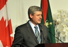 Canadian Prime Minister Stephen Harper speaking at the Foundation Ceremony in Toronto.