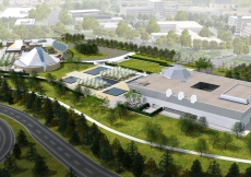 Artist rendering of the Ismaili Centre, Toronto, the Aga Khan Museum and their Park, situated along Wynford Drive adjacent to the Don Valley Parkway in Toronto.