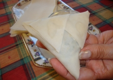 14. The rolled samosa, viewed from the back.
