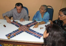 Chopat, a traditional Gujarati game of strategy, is played on a cross-shaped board, and was popular among the seniors at the Far East Sports Day held in Penang.