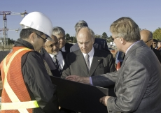 During a site visit in October 2010, Mawlana Hazar Imam reviews the glass roof design of the Ismaili Centre with David Thompson of Halcrow Yolles and Daniel Teramura of Moriyama & Teshima Architects
