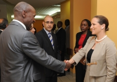 Princess Zahra meets with members of the Aga Khan University Hospital staff in Nairobi.