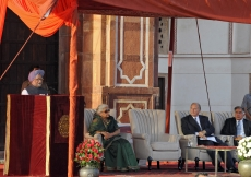 Indian Prime Minister Manmohan Singh addresses the gathering at the inauguration of the restoration of Humayun's Tomb.