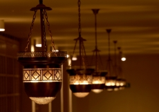 These copper lanterns were fabricated in Iran for the Ismaili Jamatkhana and Centre, Kinshasa, where they hang today.