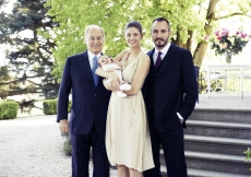 Prince Irfan, the first child of Prince Rahim and Princess Salwa, pictured together with his parents and grandfather, Mawlana Hazar Imam. TheIsmaili