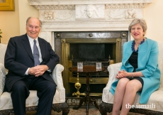 Mawlana Hazar Imam meets with Prime Minister Theresa May at 10 Downing Street, the official residence and office of the British Prime Minister.
