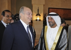 Mawlana Hazar Imam with His Highness Sheikh Ahmed bin Saeed Al Maktoum at the opening of the Ismaili Centre Dubai.