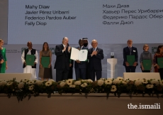 Many Diaw is honoured at the Aga Khan Award for Architecture 2019 Ceremony for his work on the Alioune Diop University Teaching and Research Unit in Bambey, Senegal.