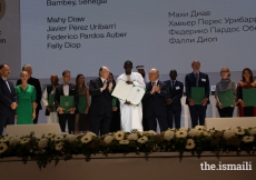Fally Diop is honoured at the Aga Khan Award for Architecture 2019 Ceremony for his work on the Alioune Diop University Teaching and Research Unit in Bambey, Senegal.
