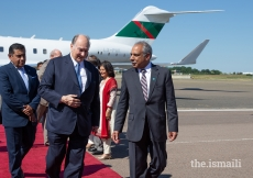 Mawlana Hazar Imam in conversation with Liakat Hasham, President of the Ismaili Council for the UK.