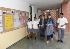 Prince Aly Muhammad and Sara receive a tour of the Senior School from representatives of the student council at the Aga Khan Academy, Hyderabad. Nazim Lokhandwala