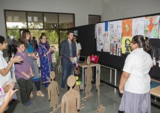 Shreya Vivani presents her personal project in the presence of Princess Zahra, Prince Aly Muhammad, Sara and Iliyan. The Middle Years Programme student used art to create awareness about modern day slavery. Nazim Lokhandwala