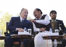 Mawlana Hazar Imam in conversation with Honourable Vice President Shri M. Venkaiah Naidu at the inauguration ceremony of Sunder Nursery.