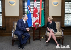 Mawlana Hazar Imam and Rachel Notley, Premier of Alberta, in conversation at the Office of the Premier, the historic McDougall Centre in Calgary.