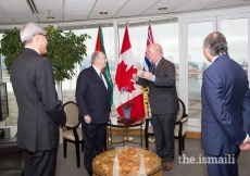 Mawlana Hazar Imam and British Columbia Premier John Horgan discuss potential collaboration with the province in areas which reflect shared values of the Ismaili community.