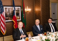 Mawlana Hazar Imam engaged in conversation with Governor Greg Abbott and Secretary of State Rolando Pablos.
