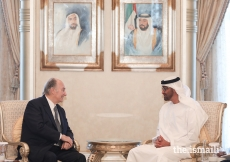 Mawlana Hazar Imam in conversation with His Highness Sheikh Mohammed bin Zayed Al Nahyan, Crown Prince of Abu Dhabi and Deputy Supreme Commander of the UAE Armed Forces.