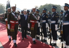 Mawlana Hazar Imam inspects the Guard of Honour at the Aiwan-e-Sadr