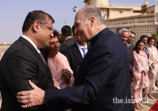 President of the Ismaili Council for Pakistan Hafiz Sherali bids farewell to Mawlana Hazar Imam at Karachi Airport