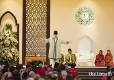 Mawlana Hazar Imam addresses the Jamat during the Diamond Jubilee Darbar held at Dubai World Central.