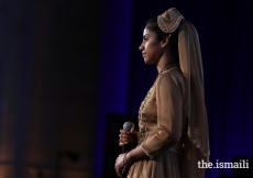 Rapper Sonita Alizadeh performs before receiving an Asia Game Changer Award for using rap music to inspire girls in Afghanistan