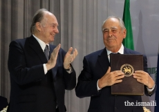 Mawlana Hazar Imam applauds as Mintimer Shaimiev, State Councellor of Tatarstan, is honoured at the Aga Khan Award for Architecture 2019 Ceremony for the Public Spaces Development Programme in Tatarstan.
