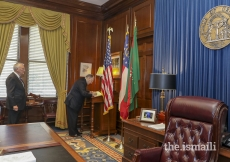 Mawlana Hazar Imam signs the official guestbook in Governor Deal's office at the Capitol in Atlanta, GA.