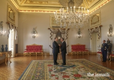 Mawlana Hazar Imam in conversation with President Marcelo Rebelo de Sousa inside Palácio de Belém.
