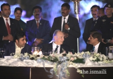 Mawlana Hazar Imam in conversation with Chief Minister of Sindh Syed Murad Ali Shah and Pakistan Peoples Party Chairman Bilawal Bhutto Zardari, at the dinner hosted by Chief Minister of Sindh, in honour of the Imam's Diamond Jubilee visit to the country