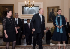Mawlana Hazar Imam and Princess Zahra arriving at Rideau Hall for a dinner hosted by Her Excellency the Right Honourable Julie Payette, Governor General of Canada, to mark Hazar Imam's Diamond Jubilee visit to Canada.