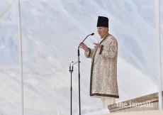 Mawlana Hazar Imam addresses the Jamat during the Diamond Jubilee Darbar at Taus, Yasin