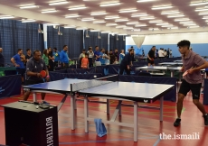 Table tennis underway during the Easter weekend 2019 at the European Sports Festival, held at the University of Nottingham.