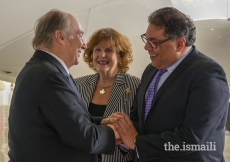 Lieutenant Governor Lois Mitchell and Calgary Mayor Naheed Nenshi greet Mawlana Hazar Imam upon his arrival in Calgary during his Diamond Jubilee visit to Canada.