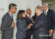 President Zahra Somani and Altaf Somani welcome Mawlana Hazar Imam on behalf of the Edmonton & Prairies Jamats.