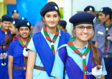 Girl guides from Hyderabad Chirag Ali lane Jamatkhana ready to welcome Mawlana Hazar Imam to India.