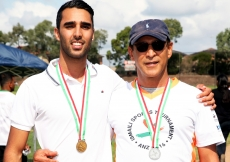 Father and son Bashir and Riaz Sumar of Sydney took gold and silver medals respectively in the 50 metre freestyle swimming event.