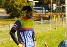 Sydney A Captain Sohail Chunara considers strategy as he looks out on the pitch at the Bernie Mullane Sports Complex. ANZ-IST2016